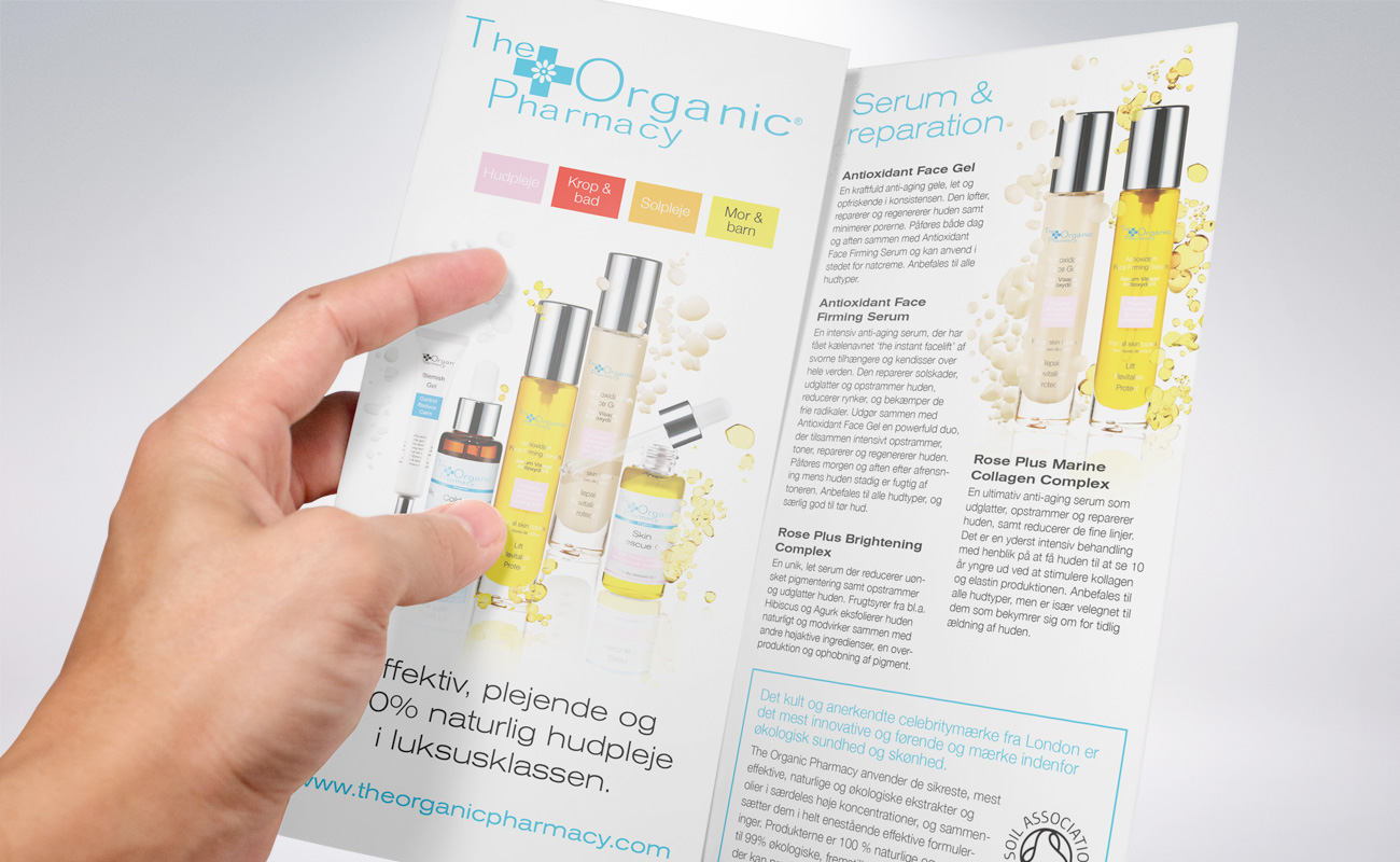 WEGA Beauty folder for The Organic Pharmacy